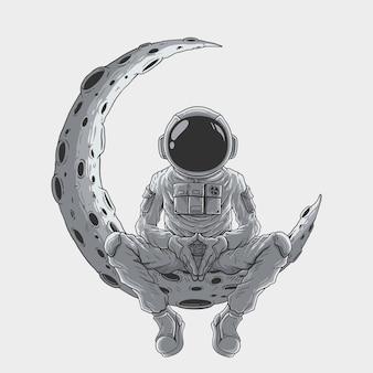 Astronauten sitzen im mond