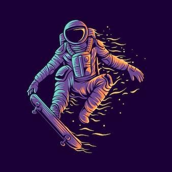 Astronauten-skateboard-sprung mit skateboard-illustration