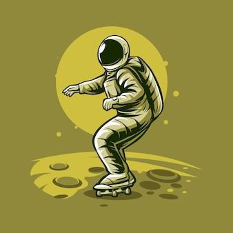 Astronauten-skateboarding auf planetenillustration