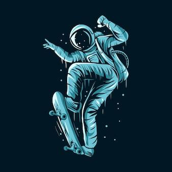 Astronauten-skateboarding auf raumillustrationsdesign
