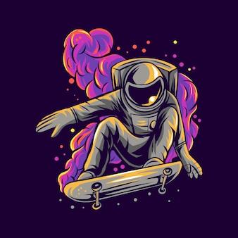 Astronauten-skateboarding auf raumnebelillustration