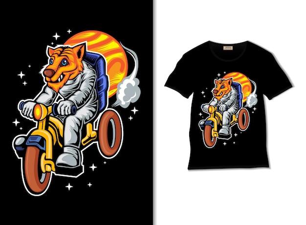 Astronauten-tiger-abenteuer mit fahrrad im weltraum illustration mit t-shirt-design