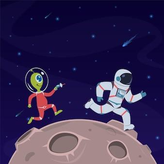 Astronauten- und alienillustration