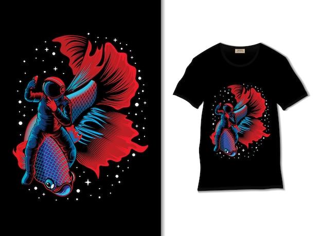 Astronauten- und betta-fischabenteuer in der weltraumillustration mit t-shirt-design