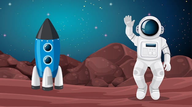 Astronauten- und marslandschaftsszene