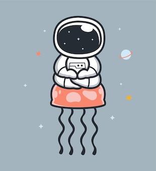 Astronauten und quallen im weltraum