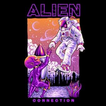 Astronauten verbinden sich mit aliens illustration