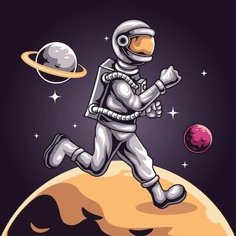 Astronauten-weltraumlauf auf dem planeten, maskottchen für sport- und esport-logo-vektorillustration