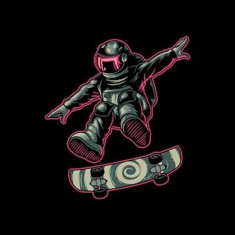 Astronauten-zeichentrickfigur, die skateboard spielt