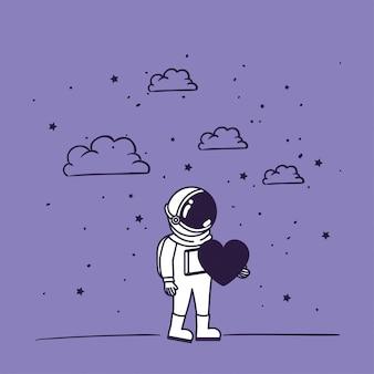 Astronauten zeichnen mit herz