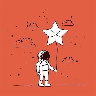 Astronauten zeichnen mit stern