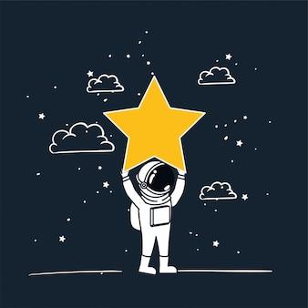Astronautenabgehobener betrag mit gelbem stern