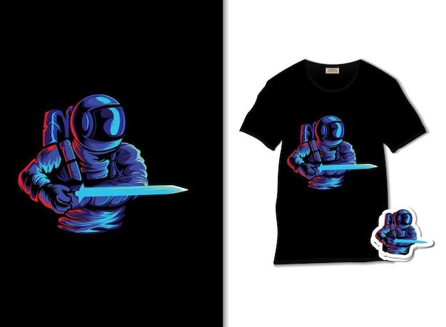Astronautenangriffsillustration mit t-shirt design