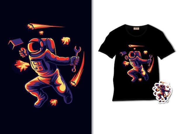 Astronautenblockmeteorillustration mit t-shirt design