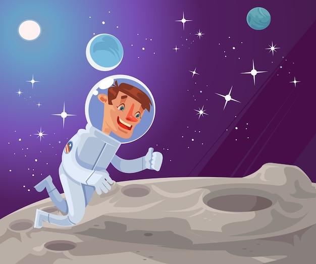 Astronautencharakter auf der mondoberfläche.