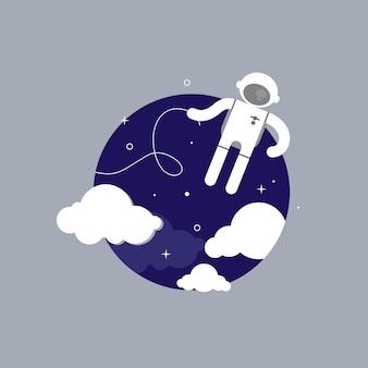 Astronautencharakter im raum