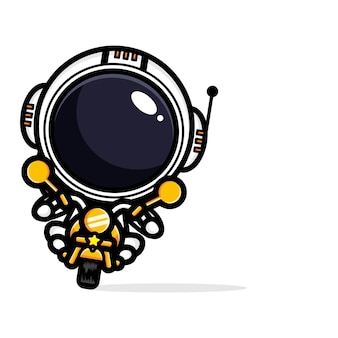 Astronautendesign, das ein motorrad fährt