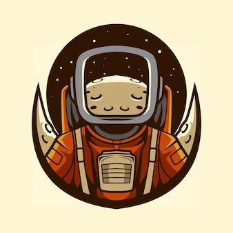 Astronautenemblem mit planet in der helmillustration