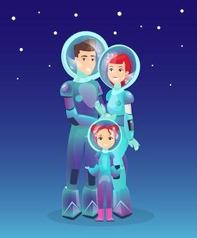 Astronautenfamilie, raumfahrer, menschen im raumanzug. futuristisches konzept von menschen. mars kolonisation.