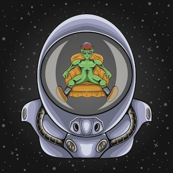 Astronautenhelm mit alien-illustration