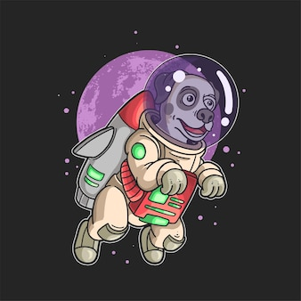 Astronautenhund fliegt in der galaxie