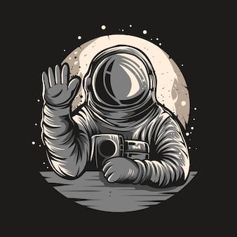 Astronautenillustration maskottchen auf dem weltraum