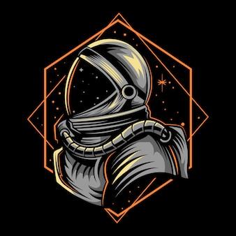 Astronautenillustration mit geometriedunkelheit