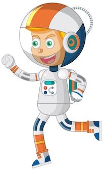 Astronautenjunge-cartoon-figur auf weißem hintergrund