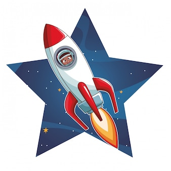 Astronautenjunge in der rakete