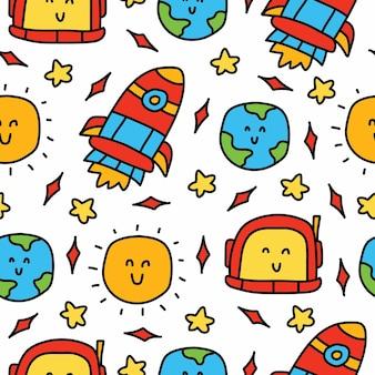 Astronautenkarikatur kawaii gekritzel nahtloses musterdesign
