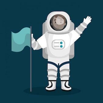 Astronautenkarikaturraum getrennt