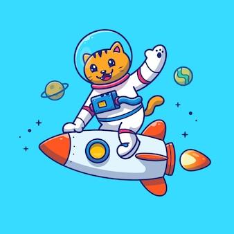 Astronautenkatze, die auf raketenillustration reitet