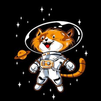 Astronautenkatzenillustration mit einfarbiger farbe