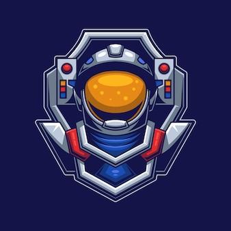 Astronautenkopf mit maskenkonzept