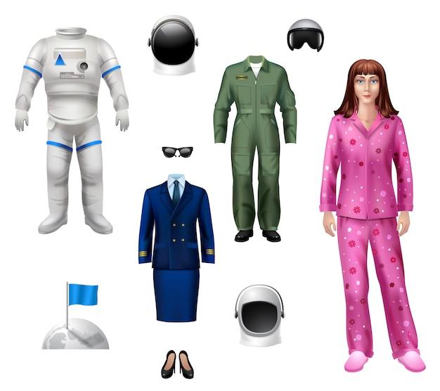 Astronautenmädchen-charaktersatz