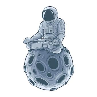 Astronautenmeditation sitzt auf dem mond. .