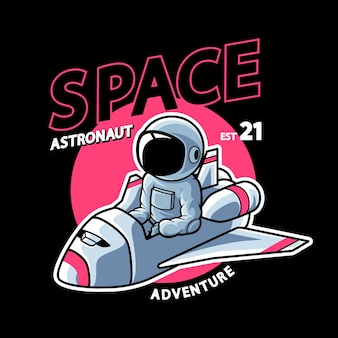 Astronautenreiten auf schiffen
