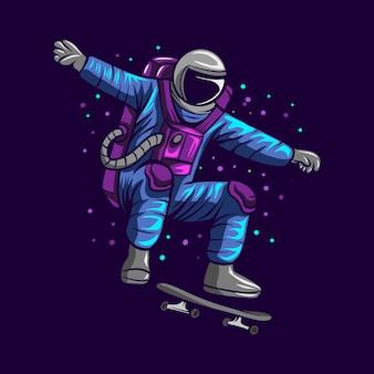 Astronautensprung auf raum mit skateboardillustration