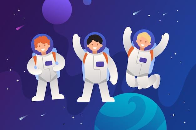 Astronautenteam im weltraum zeichentrickfiguren bunte kinderillustration teamwork und freundschaft menschen grüßen und winken mit den händen emotionen von charakteren