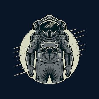 Astronautenvektorillustration mit mond