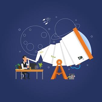 Astronom, der die sterne im teleskop studiert.