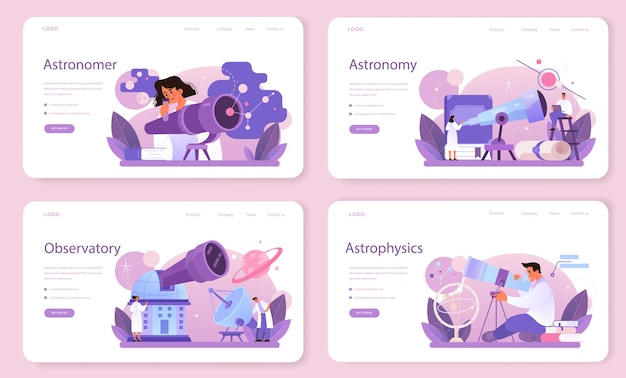 Astronomen-webbanner oder landingpage-set. professioneller wissenschaftler