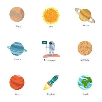 Astronomie-icon-set. flacher satz von 9 astronomieikonen