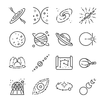 Astronomie-linie-icon-set.
