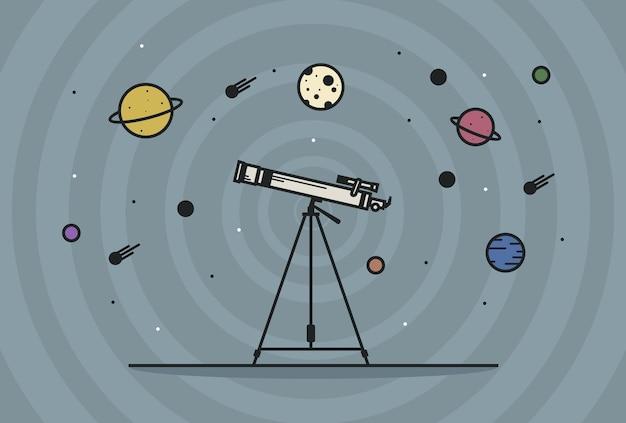 Astronomie-spiegelteleskop-vektor-illustration teleskop mit blick auf die sterne und planeten