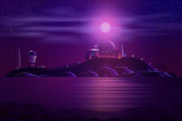 Astronomisches observatorium teleskopkarikatur