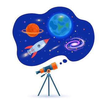 Astronomisches teleskoprohr betrachtet planeten, galaxien und fliegende rakete