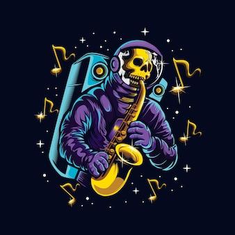 Astroskull, der saxophon in raumillustration spielt