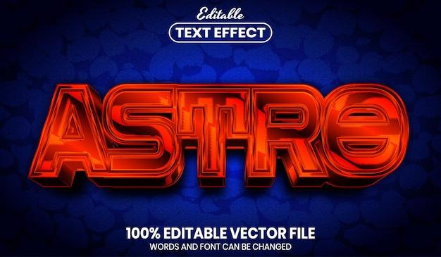 Astrotext, bearbeitbarer texteffekt im schriftstil