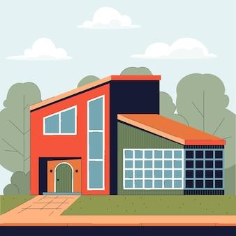Asymmetrisches landhaus mit großen eckfenstern